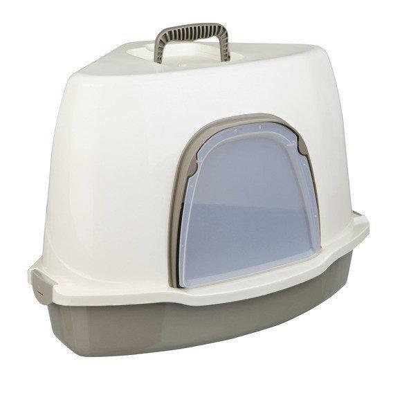 Туалет-домик Trixie Alvaro для кошек закрытый угловой серо/кремовый 55*42*42/42см