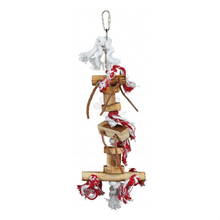 Игрушка подвесная для птиц (дерево,кож.ленты) 35см Trixie 58844