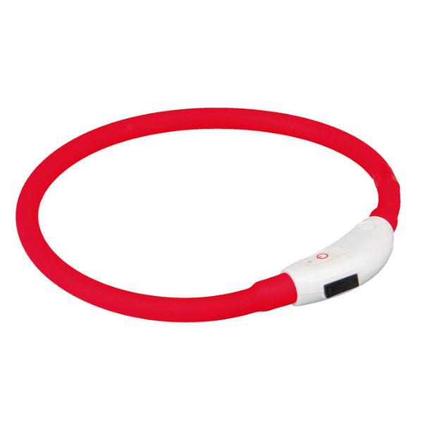 Ошейник светящийся USB красный