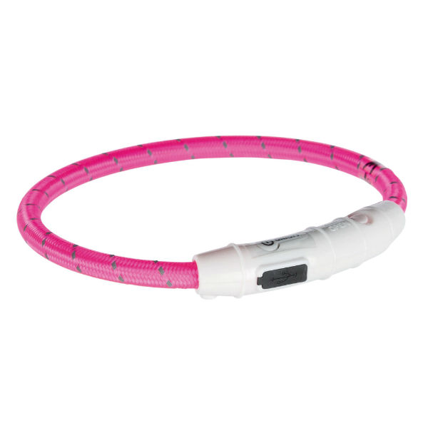 Светодиодное кольцо USB ошейник розовый