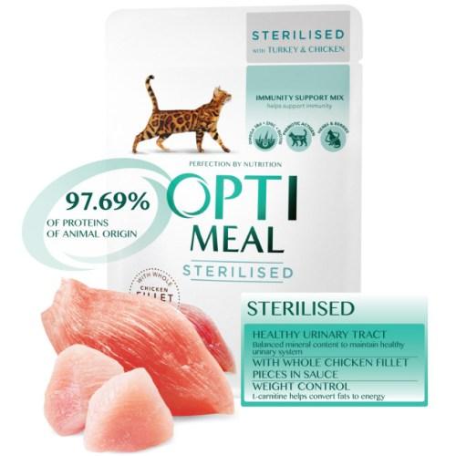 Консервы Optimeal для стерилизованных с индейкой и куриным филе в соусе для котов