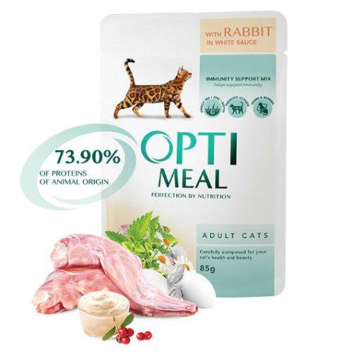 Консервы Optimeal с кроликом в белом соусе для котов и кошек