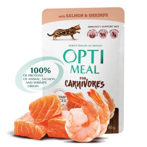 Консервы Optimeal с лососем и креветками в соусе для котов
