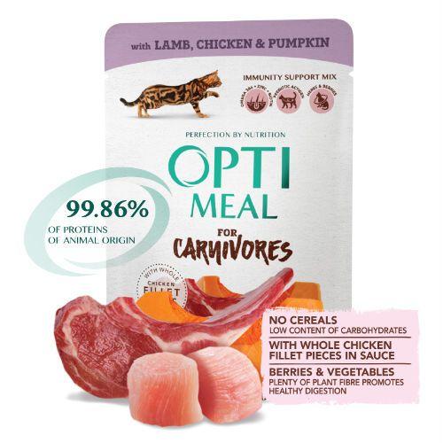 Консервы Optimeal с ягнятиной и куриным филе в тыквенном желе для котов и кошек