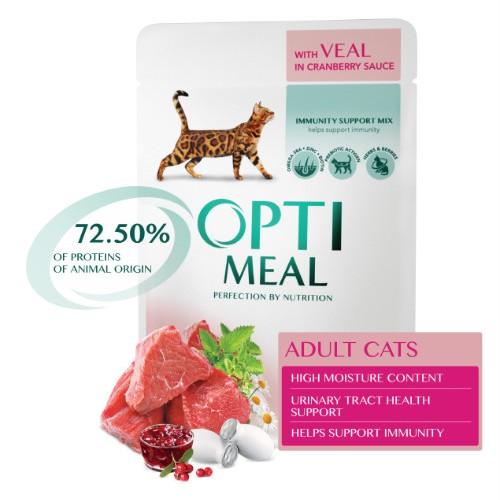 Консервы Optimeal телятина с клюквенным соусом для котов и кошек