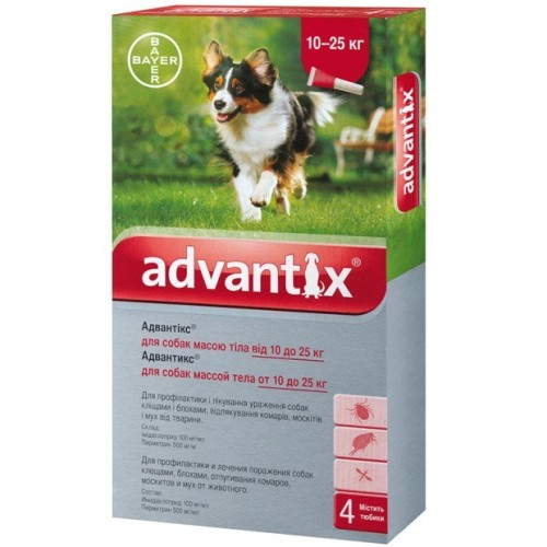 Капли на холку для собак от блох и клещей Адвантикс Байер (Bayer Advantix), от 10 до 25 кг