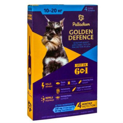 Капли для собак на холку от паразитов Палладиум (Palladium Golden Defence), вес от 10 до 20 кг