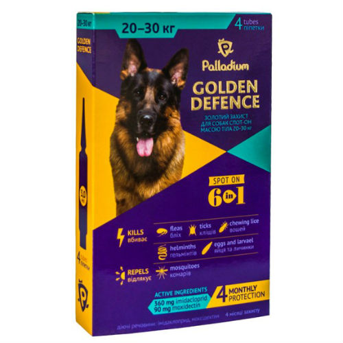 Капли для собак на холку от паразитов Палладиум (Palladium Golden Defence), вес от 20 до 30 кг