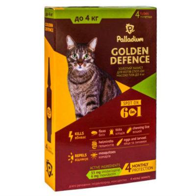 Капли для котов на холку от паразитов Палладиум (Palladium Golden Defence), вес до 4 кг