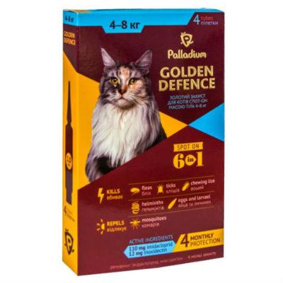 Капли для котов на холку от паразитов Палладиум (Palladium Golden Defence), вес от 4 до 8 кг