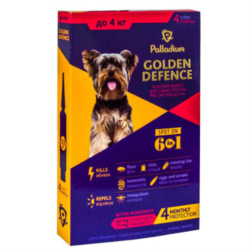Капли для собак на холку от паразитов Палладиум (Palladium Golden Defence), вес до 4 кг