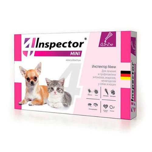 Инспектор Мини капли для щенков, котят и собак мелких пород, от 0.5 до 2 кг