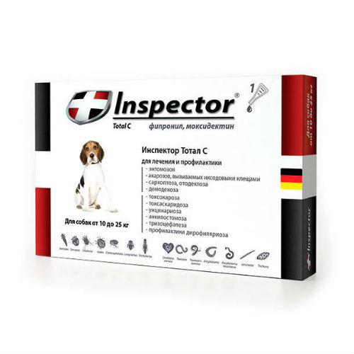 Inspector капли для собак весом 10-25 кг, 1 пипетка от наружных и внутренних паразитов 2,5 мл