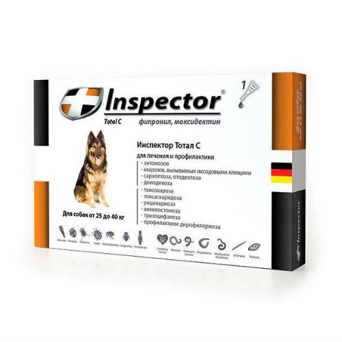 Inspector капли для собак весом 25-40 кг, 1 пипетка от наружных и внутренних паразитов 4 мл
