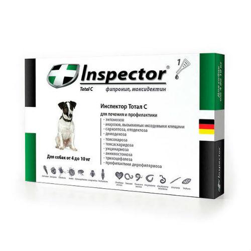 Inspector капли для собак весом 4-10 кг, 1 пипетка средство от наружных и внутренних паразитов 0,8 мл