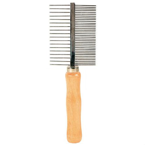Расчёска металлическая с деревянной ручкой TX-2396