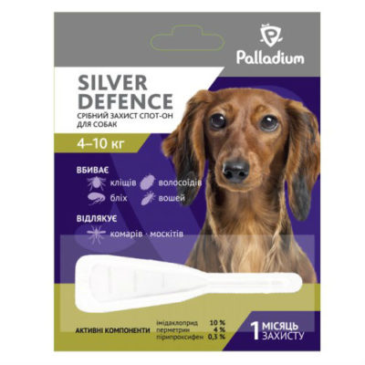 Капли для собак на холку от паразитов Палладиум (Palladium Silver Defence), вес от 4 до 10 кг