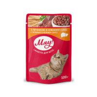 Мяу консерва пауч печень в соусе для котов 100гр