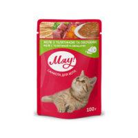 Влажный корм, пауч для взрослых кошек Мяу! желе с телятиной и овощами