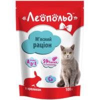 Консерва, пауч Леопольд кролик для котов 100гр