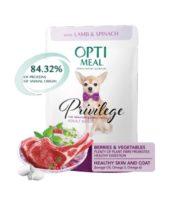Консервы Оптимил (Optimeal) для собак миниатюрных и малых пород ягненок со шпинатом в соусе, 85г