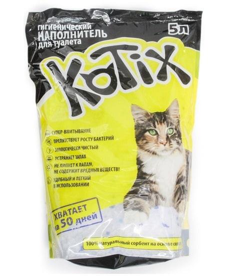Котикс силикагелевый наполнитель для кошачьего туалета, 5 л
