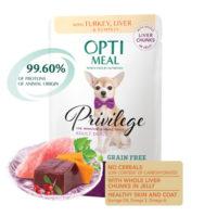 Консервы Оптимил (Optimeal) для собак миниатюрных и малых пород с индейкой и печенью в тыквенном желе, 85 г