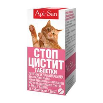 Таблетки Стоп-цистит Апи-Сан (Api-San) для котов, 15 штук