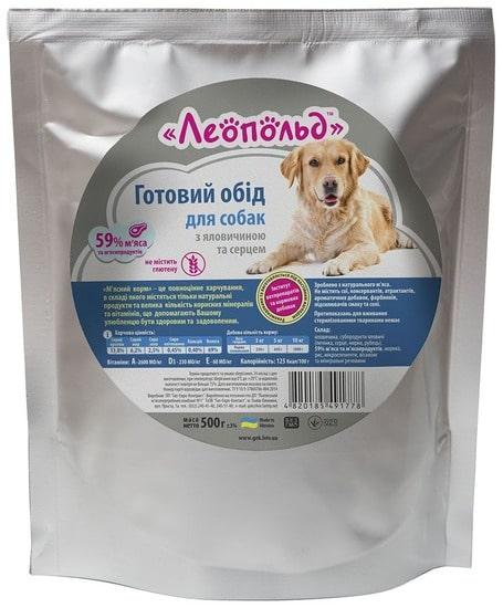 Консервы Леопольд (пауч) для собак с говядиной и сердцем, 500 г