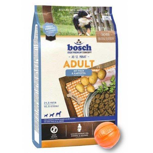 Сухой корм Бош Эдалт (Bosch Adult Fish & Potato) для собак, рыба и картофель 15 кг и мяч Лайкер (LIKER) 7 см