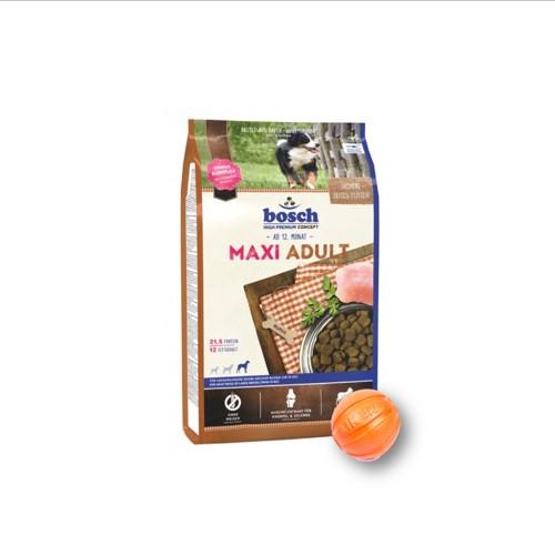 Сухой корм Бош Макси Эдалт (Bosch Maxi Adult) для собак крупных пород 15 кг и мяч Лайкер (LIKER) 9 см в подарок