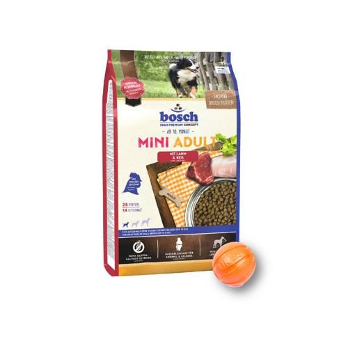 Сухой корм Бош Мини Эдалт (Bosch Mini Adult) для собак маленьких пород 15 кг и мяч Лайкер (LIKER) 5 см в подарок