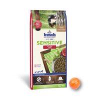 Сухой корм Бош Сенситив (Bosch Sensitive) для собак с пищевой аллергией, ягненок и рис 15 кг и мяч Лайкер (LIKER) 7 см в подарок