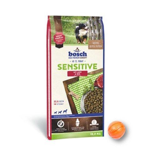 Сухой корм Бош Сенситив (Bosch Sensitive) для собак с пищевой аллергией, ягненок и рис 15 кг и мяч Лайкер (LIKER) 7 см