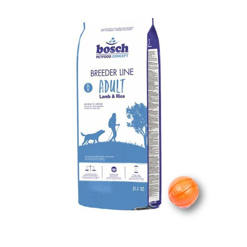 Сухой корм Бош Бридер Эдалт (Bosch Breeder Line Adult) для собак, с ягненком и рисом 20 кг и мяч Лайкер (LIKER) 9 см в подарок