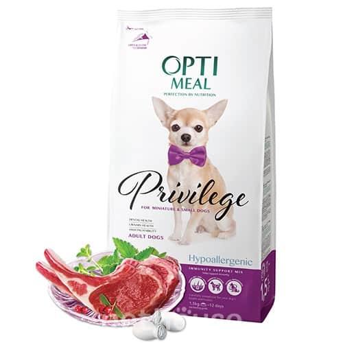 Сухой корм Оптимил (Optimeal) для собак миниатюрных и малых пород, гипоаллергенный с ягненком и рисом