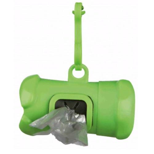 Контейнер в виде косточки и набор уборочных пакетов Трикси (Trixie) с ручками, размер М