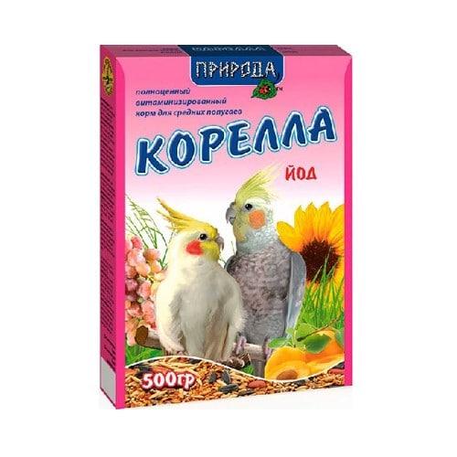 Корм для средних попугаев Природа Корелла Йод, 500 гр