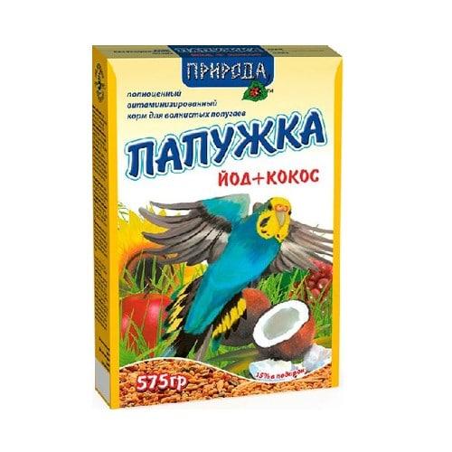 Корм для волнистых попугаев Природа Папужка Йод и Кокос, 575 гр