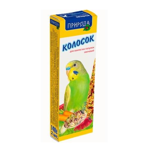 Колосок-лакомство для волнистых попугаев Природа Овощной, 140 гр