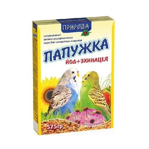 Корм для волнистых попугаев Природа Папужка Йод и Эхинацея, 575 гр