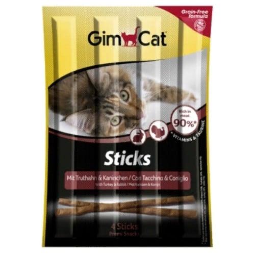 Витаминные палочки, лакомства Джимкет (GimCat Sticks) индейка и кролик, 20 гр