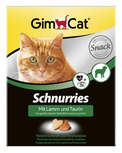 Сердечки-витамины, лакомства Джимкет (GimCat Schnurries) ягненок и таурин, 420 гр/650шт