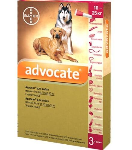 Капли для собак на холку от наружных и внутренних паразитов Адвокат (Bayer Advocate), от 10 до 25 кг
