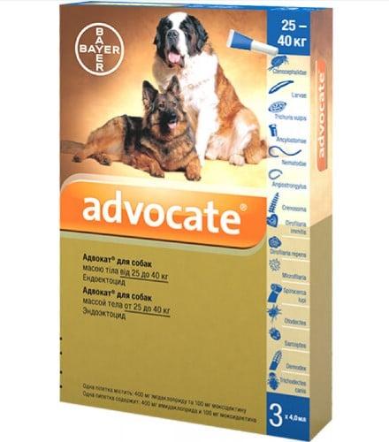 Капли для собак на холку от наружных и внутренних паразитов Адвокат (Bayer Advocate), от 25 до 40 кг