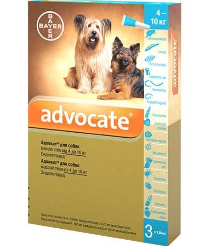 Капли для собак на холку от наружных и внутренних паразитов Адвокат (Bayer Advocate), от 4 до 10 кг