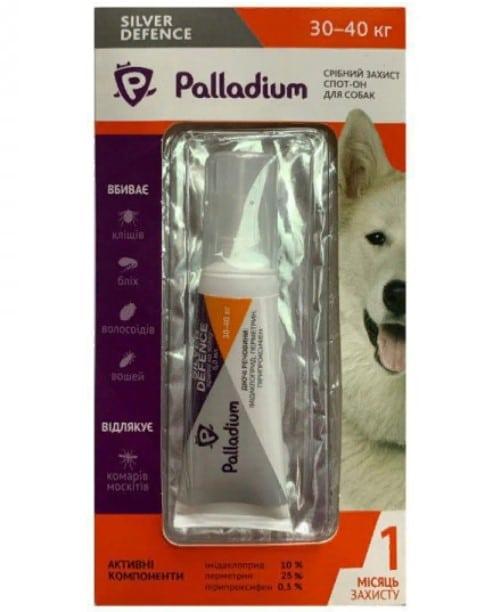Капли для собак на холку от паразитов Палладиум (Palladium Silver Defence), вес от 30 до 40 кг