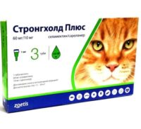 Капли на холку от паразитов разного вида для кошек Стронгхолд Плюс (Stronghold Plus), от 5 кг до 10 кг