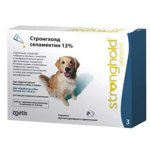 Противопаразитарные капли на холку для собак и кошек Стронгхолд (Stronghold), от 20 до 40 кг