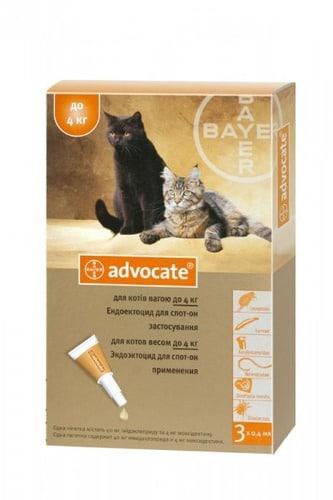 Капли от паразитов (блох и клещей) для кошек Адвокат (Bayer Advocate), до 4 кг
